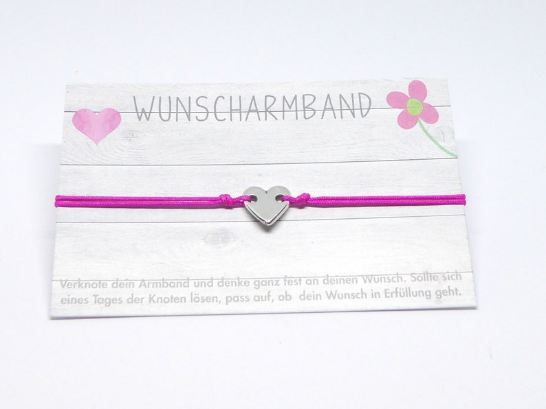 Wish bracelet delicate bracelet with heart silver desired image 0
