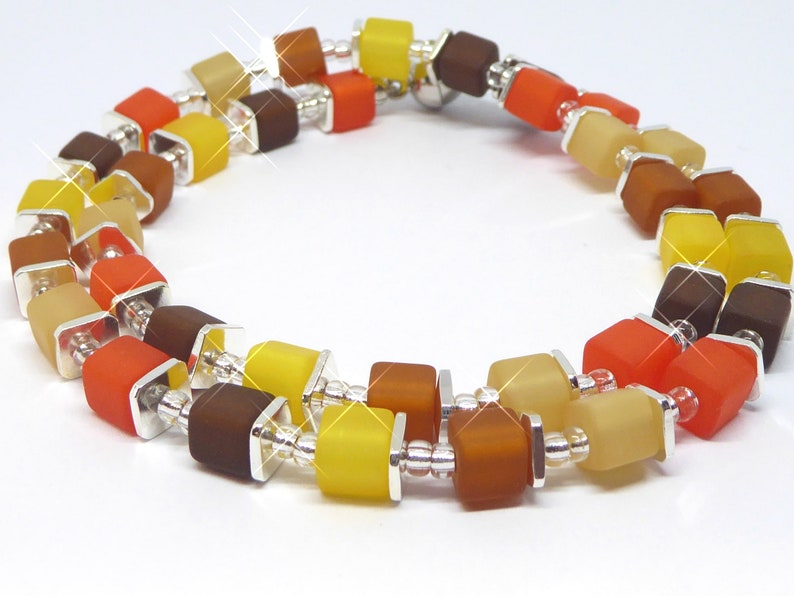 Necklace from Polaris mini cubes in autumnal colors color image 0