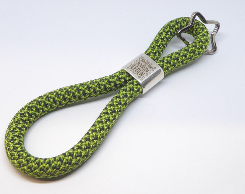 XXL  keychain made of climbing rope with engraved metal image 0