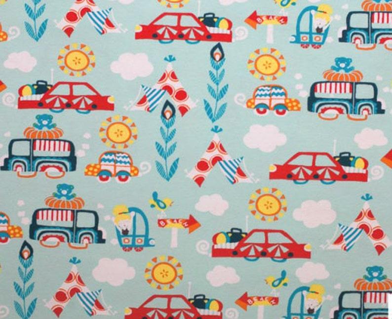 Knit Fabric by Lillestoff - EXCURSION TOUR CARS - boys fabric - Summer  Organic Jersey Knit Fabrics - Light Blue - Automobiles - European