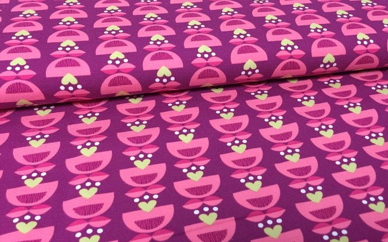 29b003a14e4 Knit Fabric cotton lycra fabric Floral Hearts Organic   Etsy