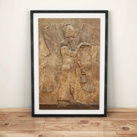Assyrian Winged Genie//Apkallu Poster Babylon//Sumerian//Assyrian//Anunnaki