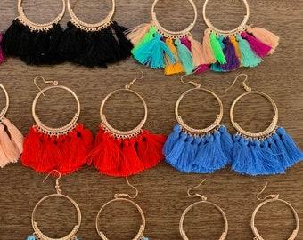 Brown and Goldtone Earrings Boho Faux Suede Earrings Boho Jewelry Dangle Earrings Brown Suede Boho Tassel Earrings Gift for Her