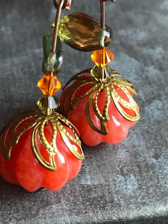 Pumpkin Necklace Rhinestone Pumpkin Pendant Sparkle Autumn Harvest Fall Jewelry