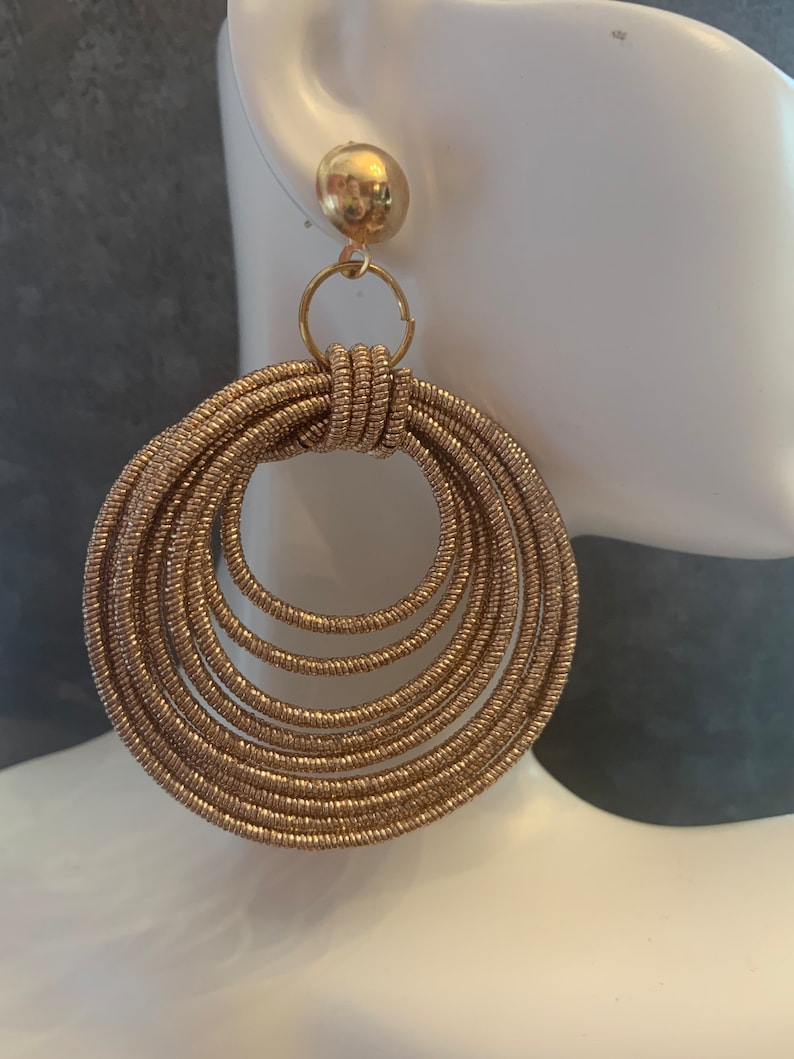 Rose Gold Rope Earrings Rose Gold Shimmering Jewelry Sparkly Hoops