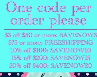 Coupon codes, please don't purchase this listing