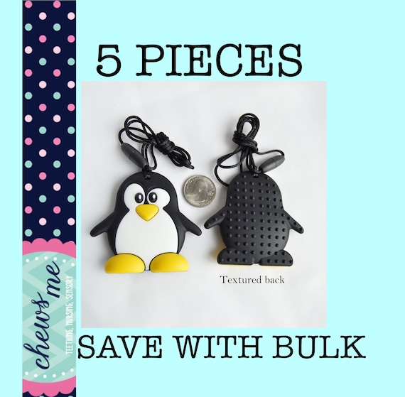 Teething Toy  For Children Who Need To Chew Bite Fidget Penguin Chewy Necklace
