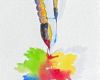 Colorful Watercolor Paintbrushes (Original Watercolor Painting)