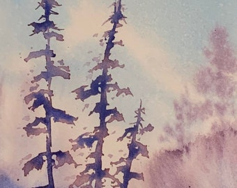 Purple Trees (Original Watercolor Painting) Landscape, Matted