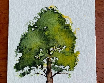 Short Green Tree Bookmark (Original Watercolor Painting) Unframed