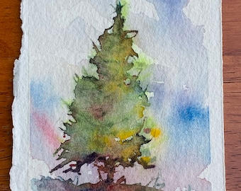 Bright Green Tree Bookmark 3 (Original Watercolor Painting) Unframed