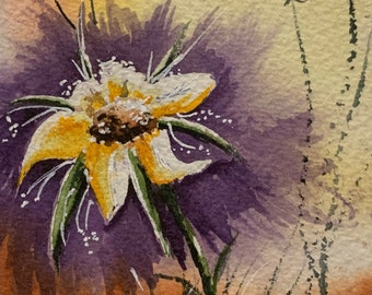 Yellow Stylized Flower with Purple Background (Original Watercolor Painting)