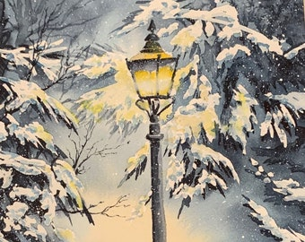 Street Light Winter (Original Watercolor Painting)