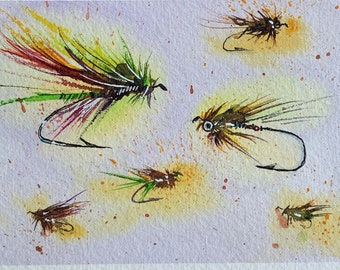 Glowing Neon Fly Fishing Lure Collection (Original Watercolor Painting) Unframed