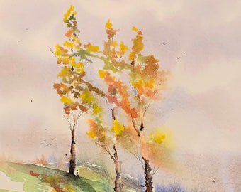 Yellow Branches (Original Watercolor Painting)
