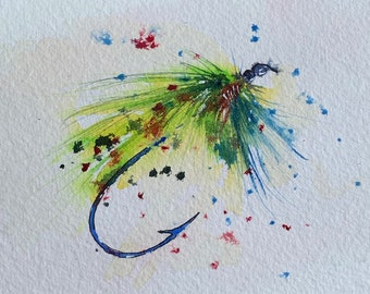 Neon Fly Fishing Lure (Original Watercolor Painting) Unframed