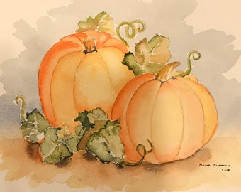 Pumpkin Patch (Original Watercolor Painting) Fall, Matted