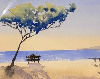Beach Walk (Original Watercolor Painting)