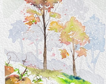 Fall Trees with Pumpkins (Original Watercolor Painting)