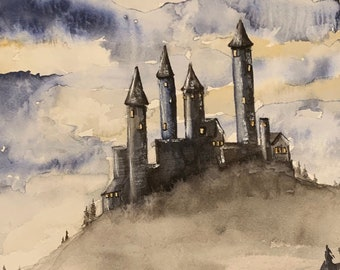 Gothic Castle (Original Watercolor Painting) Fantasy, Sci-Fi