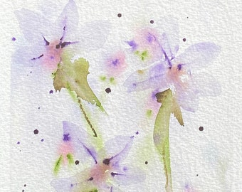 Faint Purple Flowers (Original Watercolor Painting)