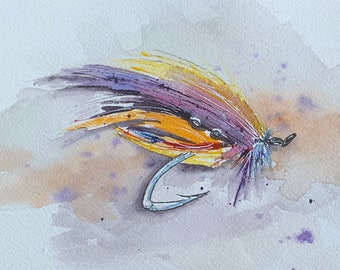 Purple and Yellow Fly Fishing Lure (Original Watercolor Painting) Unframed