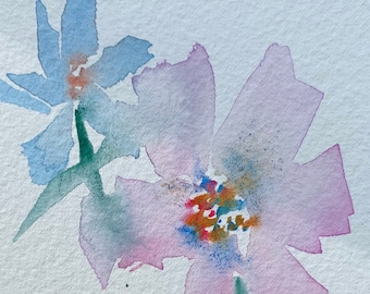 Light Washed Flowers (Original Watercolor Painting)