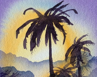 Purple Sunset Palm Trees (Original Watercolor Painting) Unframed