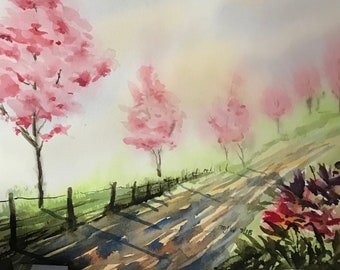 Dirt Road Path with Fence and Bright Pink Spring Trees (Original Watercolor Painting)
