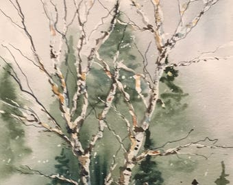 Birch Branches (Original Watercolor Painting)