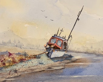 Beached Boat (Original Watercolor Painting)