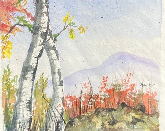 Birch Trees in the Fall with a Mountain (Original Watercolor Painting)