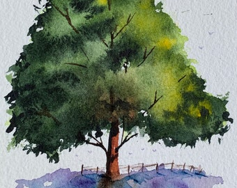 Grand Green Tree on Farm (Original Watercolor Painting) Unframed