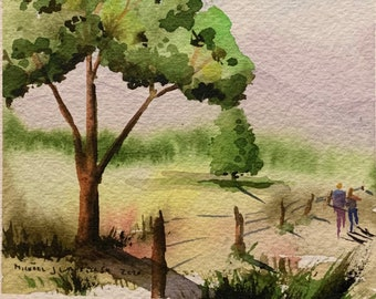 People Walking Along a Long Country Field (Original Watercolor Painting)