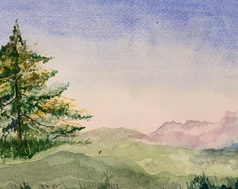 Purple Mountain (Original Watercolor Painting)