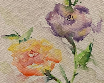 Pink and Purple Blossoming Flowers (Original Watercolor Painting)