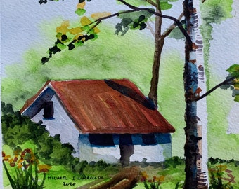 Backyard Shed (Original Watercolor Painting)