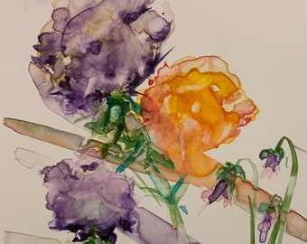 Stylized Purple and Orange Blossomed Flowers (Original Watercolor Painting)
