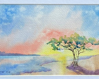 Blue and Pink Beach Tree Sunset (Original Watercolor Painting)