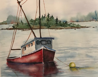 Anchored Red Boat on Lake with Island (Original Watercolor Painting)