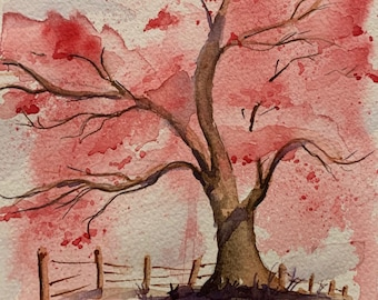 Pink Blossoming Spring Tree (Original Watercolor Painting)