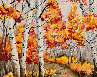 Orange Leaved Birch Trees (Original Watercolor Painting)