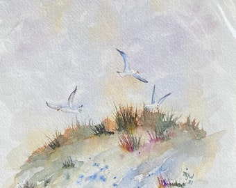 Seagulls on the Beach Shore (Original Watercolor Painting)