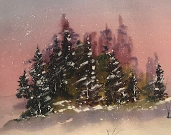 Winter Fir Trees on with a Pink Sky (Original Watercolor Painting)