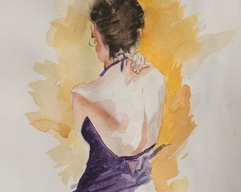 Elegant Woman in Purple Dress (Original Watercolor Painting)