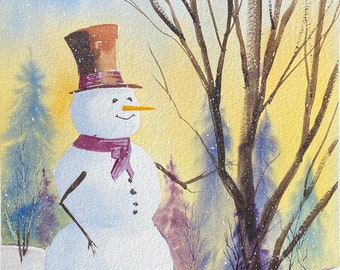 Snowman with Yellow Sunset in the Forest (Original Watercolor Painting)