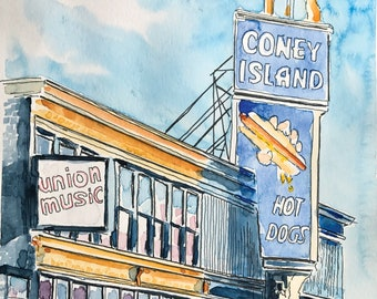 Coney Island Hot Dogs Worcester MA (Original Watercolor Painting)