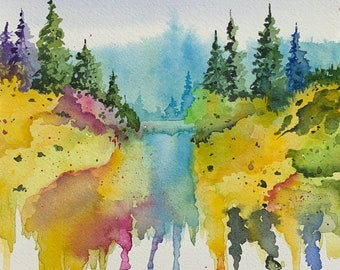 Colorful Dripping Trees and River Bend (Original Watercolor Painting)