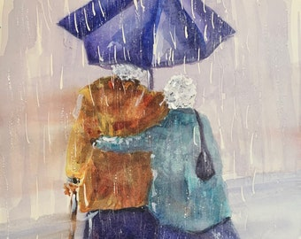 Old Couple Walking in Rain Under Umbrella (Limited Prints)