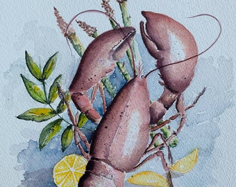 Lobster Lemon Cuisine for Kitchen (Original Watercolor Painting) Unframed